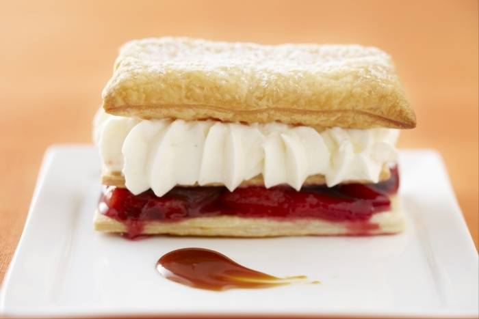 Spiced plum mille feuille with chantilly cream and caramel sauce Recipe