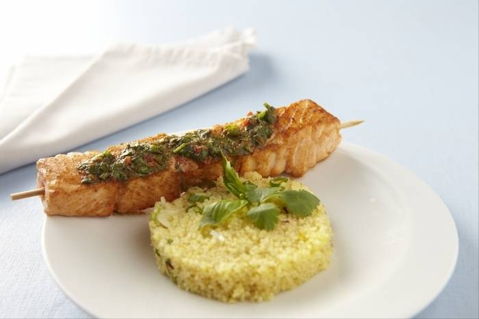 Salmon brochettes with saffron cous cous and cumin spiced salsa Recipe
