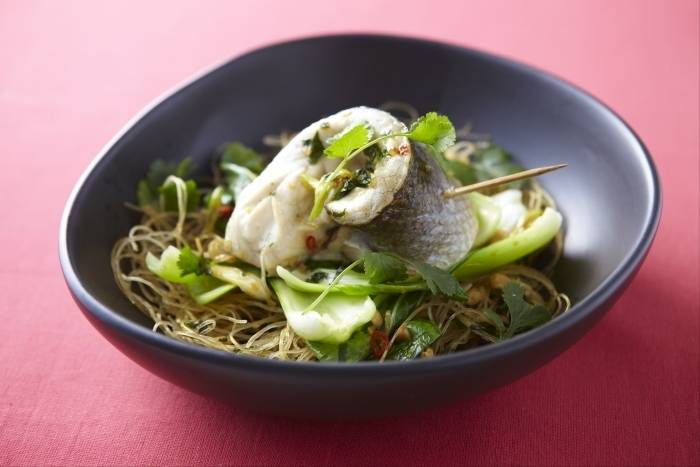 Steamed fillet of sea bass with pak choi, asian vinaigrette and rice noodles Recipe