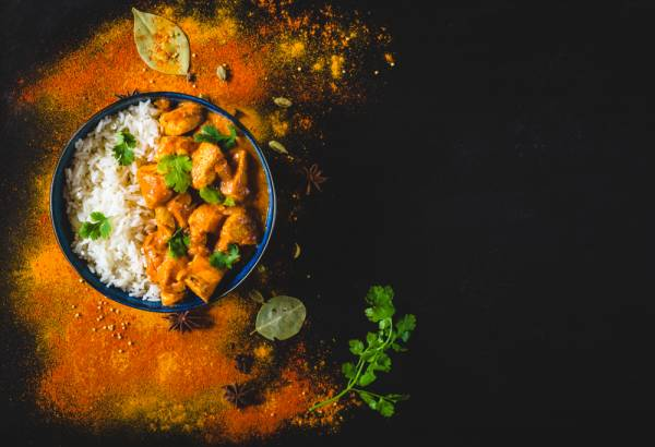 Old Delhi style butter chicken with lemon and coriander rice Recipe