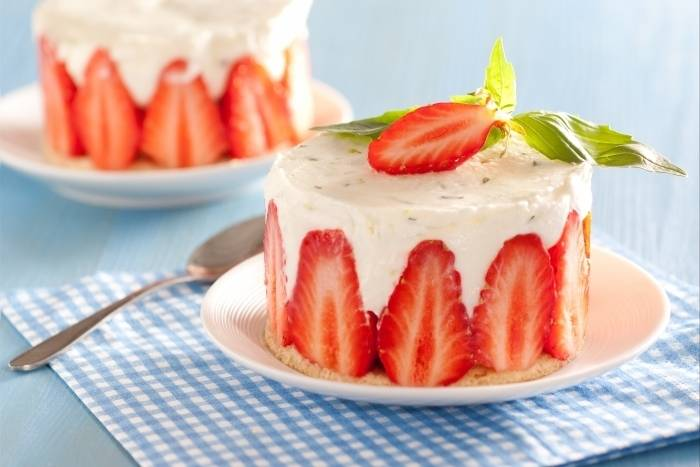 Strawberry, lime and basil fraisier Recipe