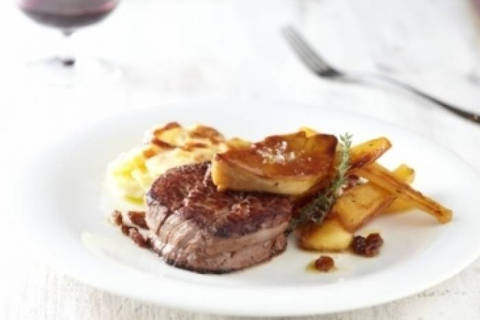 Chateaubriand with horseradish gratin, honey roasted parsnips and foie gras Recipe