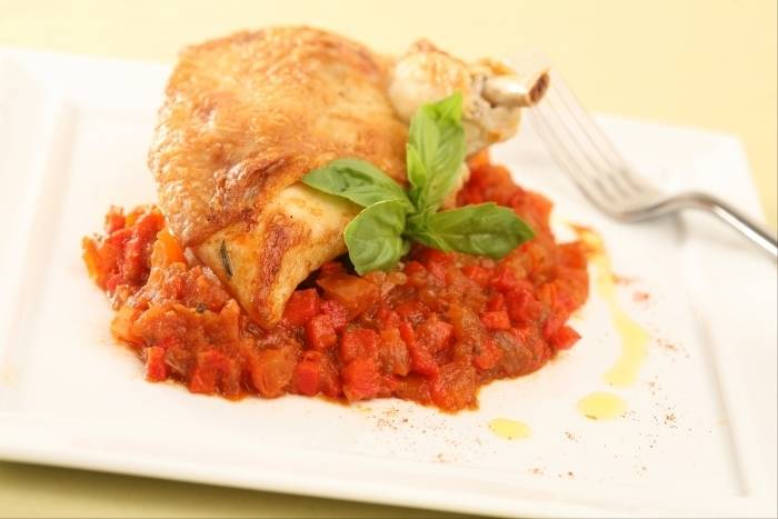 Chicken with chorizo and caponata Recipe
