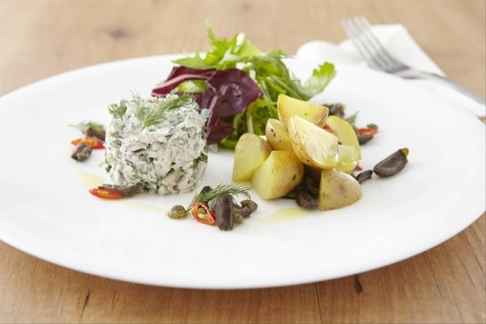 Smoked mackerel rilettes with spiced black olive, caper and potato salad Recipe
