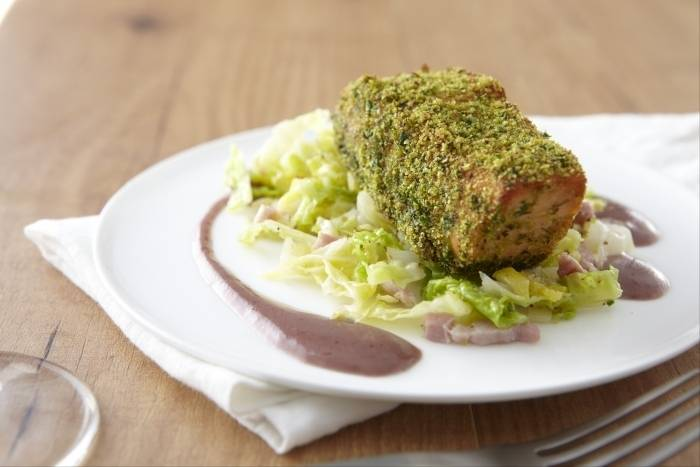 Herb crusted salmon with savoy cabbage and beurre rouge Recipe
