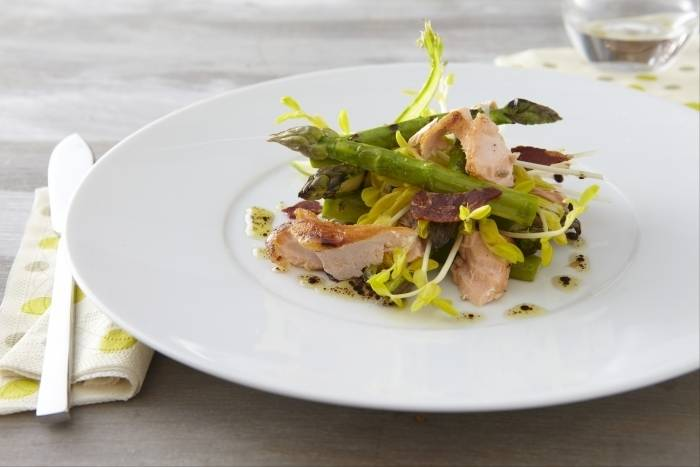 Grilled asparagus, smoked trout, pea shoots and crisp pancetta Recipe