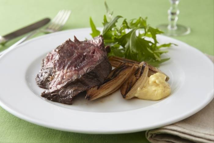 Flat Iron steak with braised shallots, matchstick potatoes and aioli Recipe