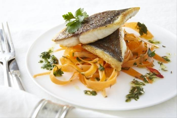 Seared sea bream with carrot and cumin ribbons Recipe
