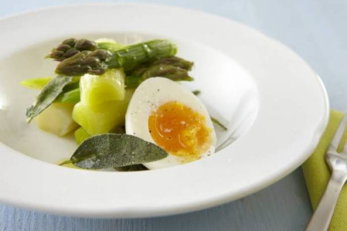 Asparagus tips, poached leeks, soft boiled eggs and crispy sage Recipe