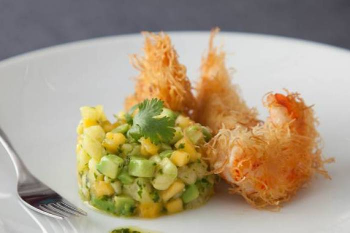 Crispy prawns with mango, pineapple and avocado salsa Recipe