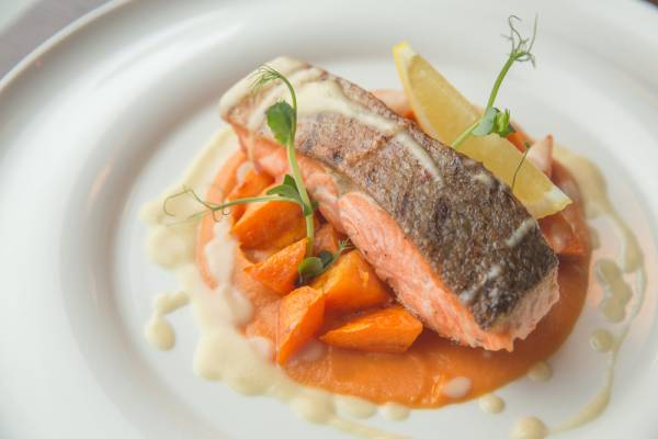 Roast salmon with sweet potato mash and chilli and ginger dressing Recipe