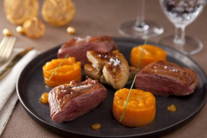 recette de magret de canard et foie gras po l variation de courge butternut rapide. Black Bedroom Furniture Sets. Home Design Ideas