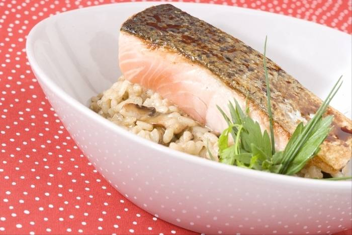 Honey and soy glazed salmon with mushroom risotto Recipe