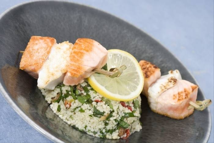 Cous cous salad with grilled fish skewers Recipe