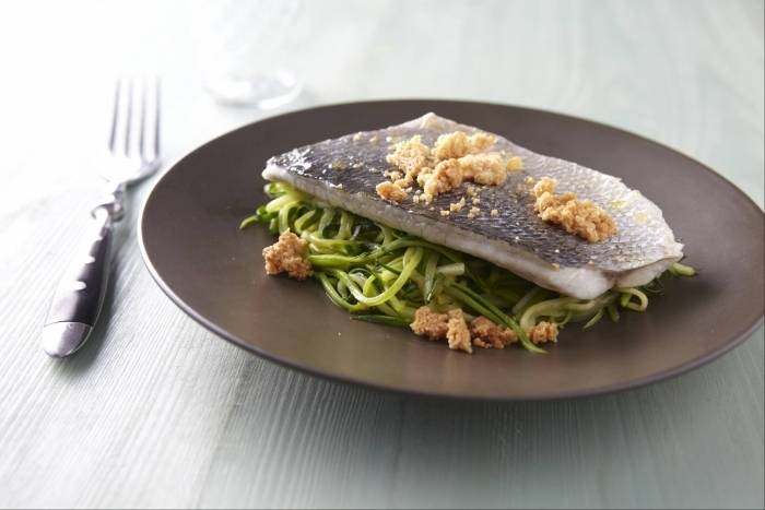 Sea bream with julienne of courgettes and parmesan crumble Recipe