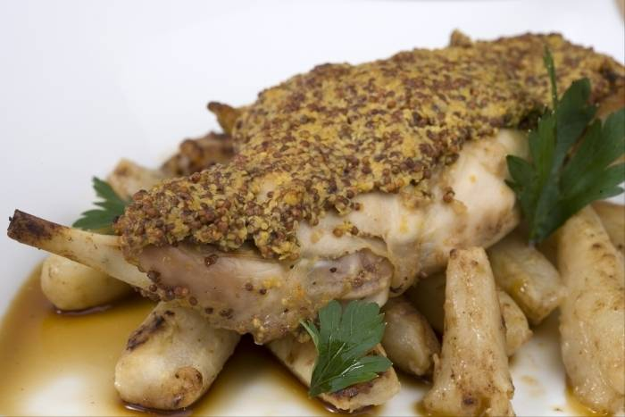 Leg of rabbit with mustard Recipe